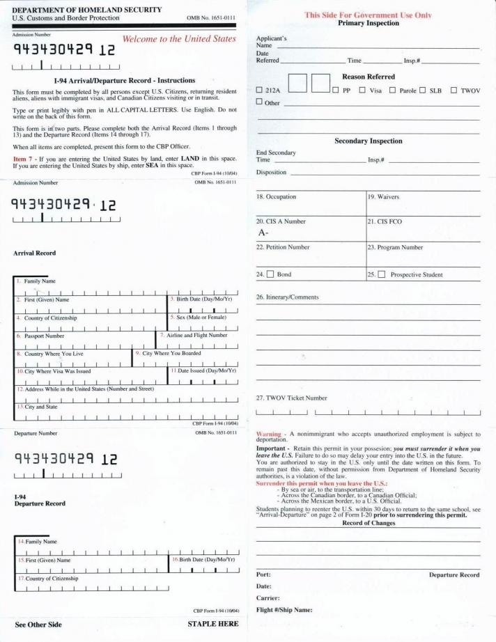 i 94 form for dmv  MS in US
