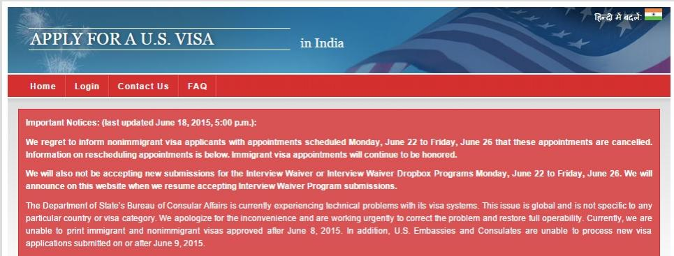 All US Visa appointments during June 22-26 are Cancelled