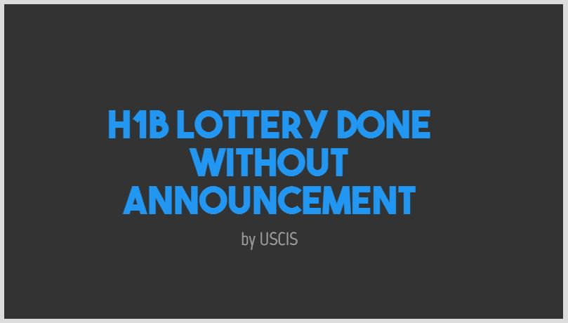 H1B Lottery done and Checks are being cashed